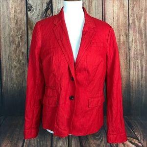 J.Crew Red Linen Schoolboy Blazer